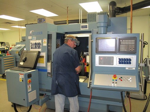 Earl Sandt Working with S-21 CNC Machine at Philadelphia Mint