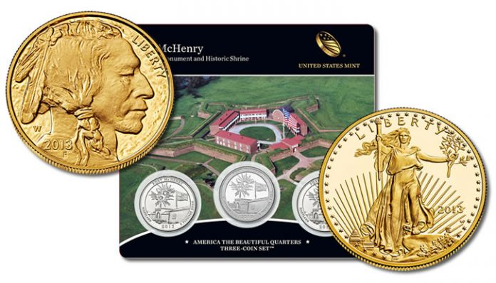 Gold Coins and Fort McHenry Quarters Three-Coin Set