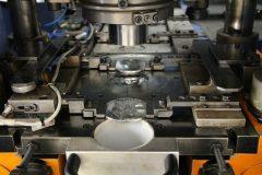 Striking, coin die area of Grabener press.