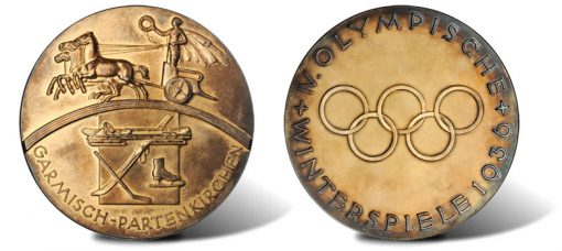 Official Gold Medal from the 1936 Olympic Winter Games