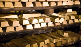 Racks of Gold Bars