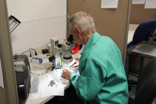 Tom Larizzio Inspecting and Cleaning Coin Die