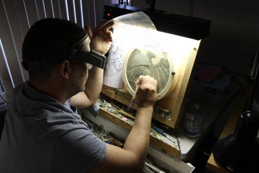 US Mint artist Michael Gaudioso sculpting with transparency