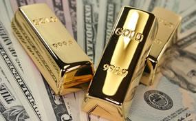 US Money and Three Gold Bars