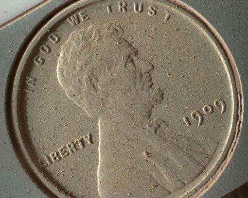 1909 VDB Lincoln Cent on NASA's Mars Rover Curiosity on Oct 2, 2013