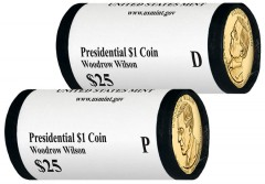 2013 P and D Woodrow Wilson Presidential $1 Coins in Rolls