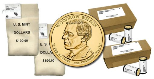 2013 Woodrow Wilson Presidential $1 Coins in Rolls, Bags and Boxes