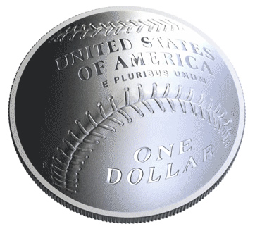 2014 National Baseball Hall of Fame Commemorative Coin - Reverse Rendering