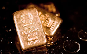 999.9 gold bullion, three bars