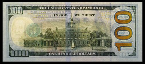 Back of New $100 Federal Reserve Note, Back Light