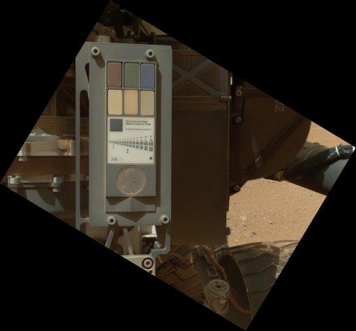 Calibration target for the Mars Hand Lens Imager (MAHLI) aboard NASA's Mars rover Curiosity (Sept 9, 2012)