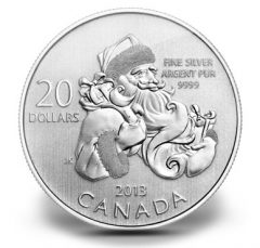 Canadian 2013 $20 Santa Silver Coin for $20
