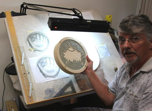 Don Everhart Holding His Clay Model of the Constantino Brumidi Congressional Gold Medal