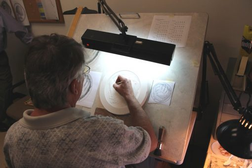 Don Everhart Sculpting Baseball Glove Design on Plaster Model