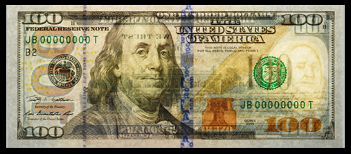 Front of New $100 Federal Reserve Note, Back Light