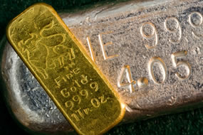 Gold bar on top of silver bar