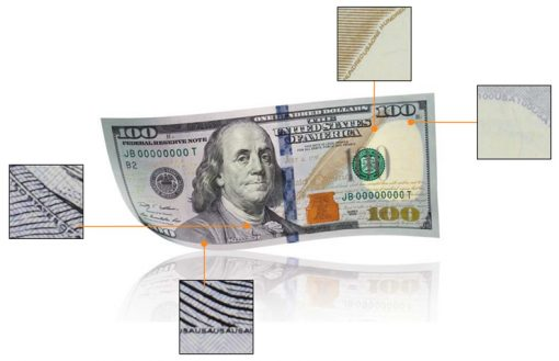 Microprinting in $100 Notes