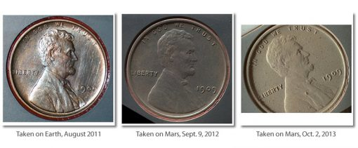 Photos of 1909 VDB Lincoln Cent on NASA's Mars Rover Curiosity