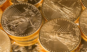 Pile of Gold Eagle Bullion Coins