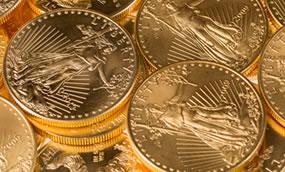 Pile of Gold Eagle Bullion Coins