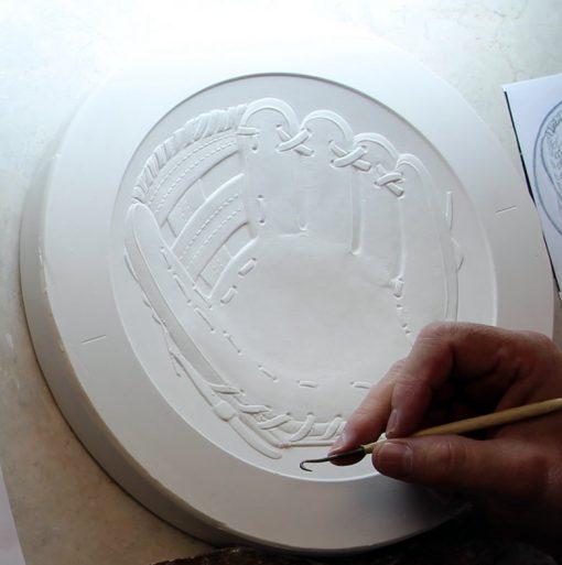 Plaster model of Cassie McFarland's baseball glove design