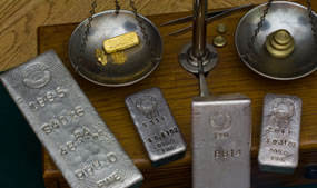 Silver and Gold Bars, Antique Balance Scale