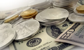 US Bullion Gold Eagles, Silver Eagles, $50 and $100 Bills