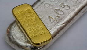 gold and silver, one bar each