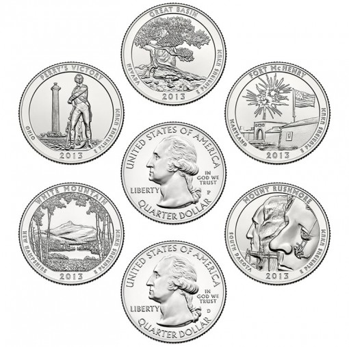 2013 America the Beautiful Quarters - Reverses and P&D Obverses