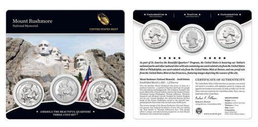 2013 Mount Rushmore National Memorial Quarters Three-Coin Set