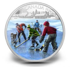 2014 $20 Canadian Silver Coin Depicts Pond Hockey
