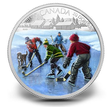 2014 $20 Canadian Pond Hockey Silver Coin
