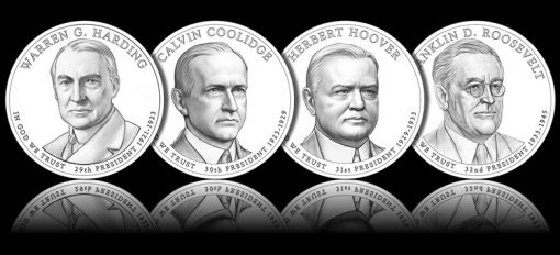 2014 Presidential $1 Coin Designs, Line Art Images