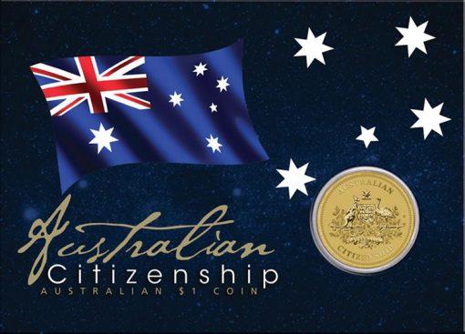 Australian Citizenship 2014 $1 Coin in Card