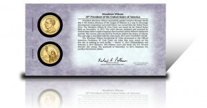 Back of 2013 Woodrow Wilson Presidential $1 Coin Cover
