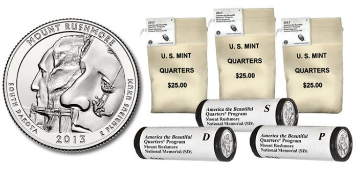 Bags and rolls of Mount Rushmore National Memorial Quarters