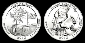 Fort McHenry, Mount Rushmore 5 Oz Silver Bullion Coins