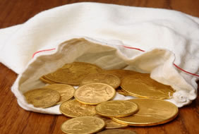 Gold coins in a bag