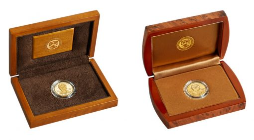 Lacquered Hardwood Presentation Cases for Proof and Uncirculated Edith Roosevelt Gold Coins