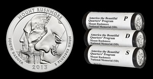 Mount Rushmore 5 Oz Silver Coin and Quarters