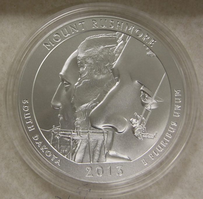 Photo of the 2013-P Mount Rushmore Five Ounce Silver Uncirculated Coin