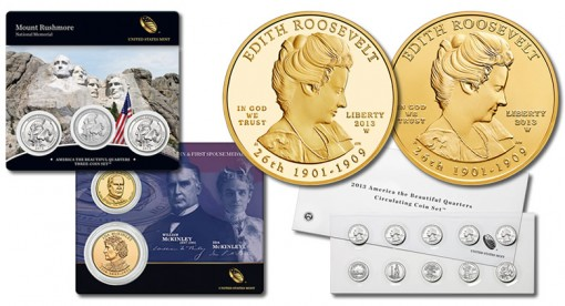 Quarters Sets, Edith Roosevelt Gold Coins and McKinley Medal Set