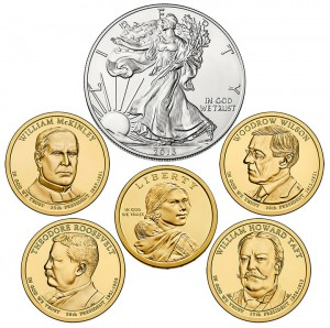 Six Coins in 2013 Annual Uncirculated Dollar Coin Set