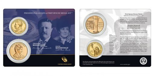 Theodore Roosevelt $1 Coin and Edith Roosevelt First Spouse Medal Set