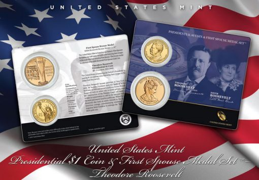 Theodore Roosevelt Presidential $1 Coin & Edith Roosevelt Medal Set