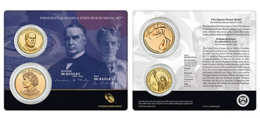 William McKinley $1 Coin & First Spouse Medal Set