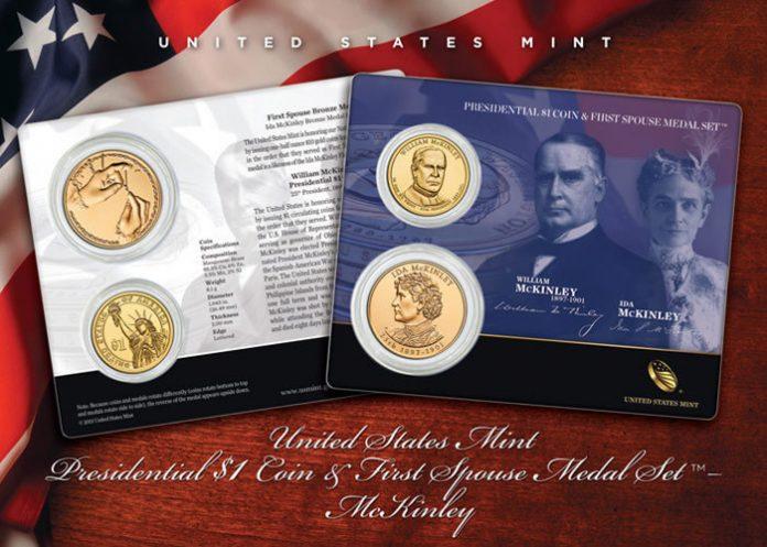 William McKinley Presidential $1 Coin & Ida McKinley Medal Set