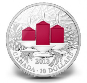2013 $10 Holiday Candles Fine Silver Coin