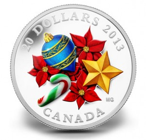 2013 $20 Holiday Season with Venetian Glass Candy Cane Fine Silver Coin