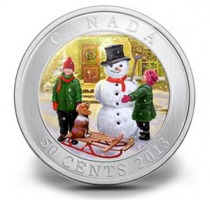 2013 50c 3D Snowman Coin